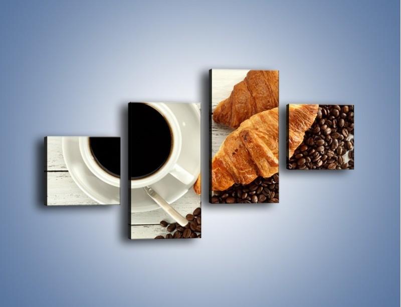 Obraz na płótnie – Kawa na białym stole – czteroczęściowy JN462W3