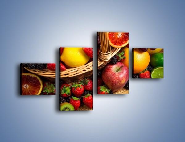 Obraz na płótnie – Kosz zatopiony w owocach – czteroczęściowy JN635W3