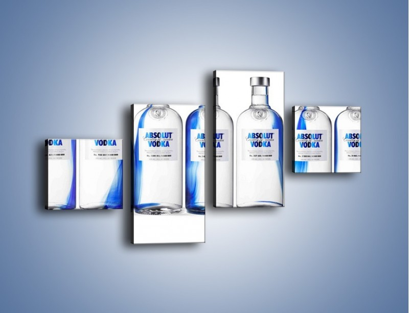 Obraz na płótnie – Czysta wódka w butelkach – czteroczęściowy JN748W3