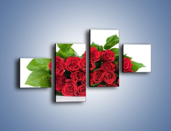 Obraz na płótnie – Idealna wiązanka czerwonych róż – czteroczęściowy K018W3