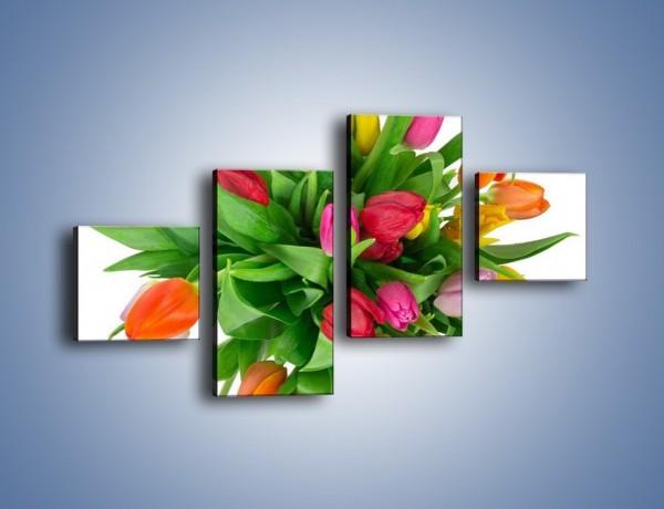 Obraz na płótnie – Wiązanka kolorowych tulipanów – czteroczęściowy K019W3