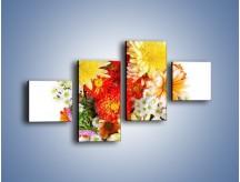 Obraz na płótnie – Bukiecik kwiatów z ogródka – czteroczęściowy K118W3