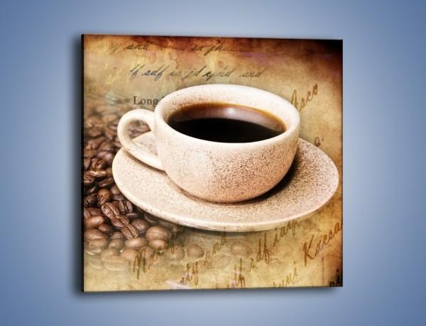 Obraz na płótnie – List przy filiżance kawy – jednoczęściowy kwadratowy JN347