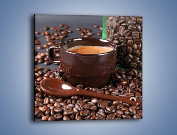 Obraz na płótnie – Kawa w ciemnej filiżance – jednoczęściowy kwadratowy JN348