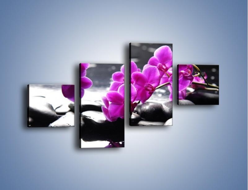 Obraz na płótnie – Dotyk kamienia i storczyka – czteroczęściowy K526W3