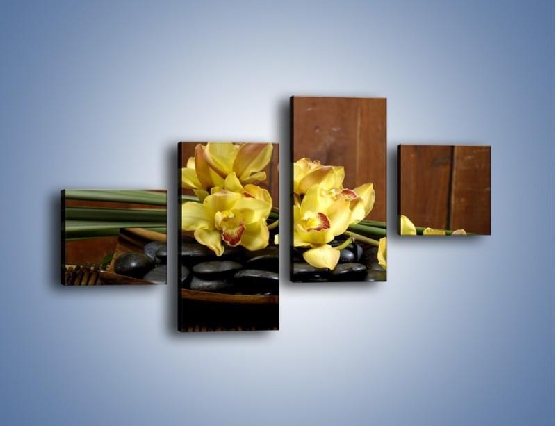 Obraz na płótnie – Kwiaty na drewnianym naczyniu – czteroczęściowy K575W3