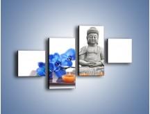 Obraz na płótnie – Budda i kwiat – czteroczęściowy K593W3