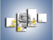 Obraz na płótnie – Budda w białych kwiatach – czteroczęściowy K599W3