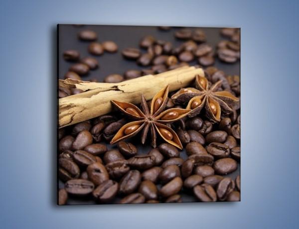 Obraz na płótnie – Ziarna kawy z goździkami – jednoczęściowy kwadratowy JN351