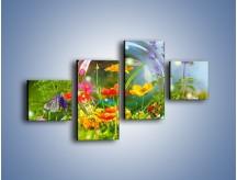 Obraz na płótnie – Bańkowy świat kwiatów – czteroczęściowy K691W3