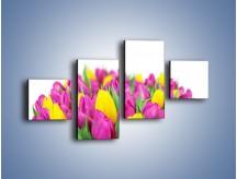 Obraz na płótnie – Bukiet fioletowo-żółtych tulipanów – czteroczęściowy K778W3
