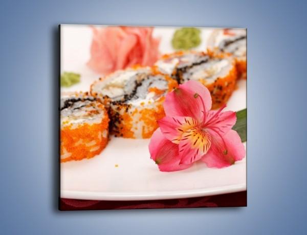 Obraz na płótnie – Sushi z kwiatem – jednoczęściowy kwadratowy JN354