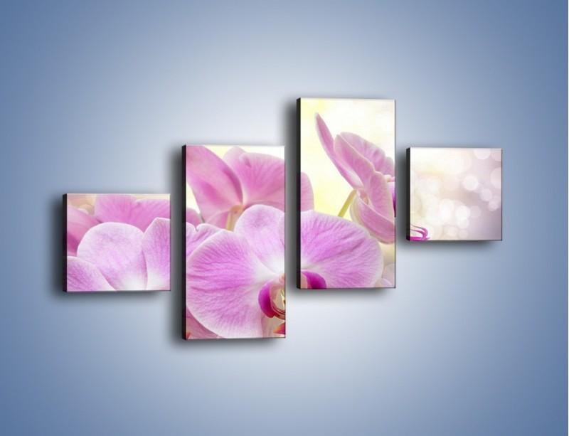 Obraz na płótnie – Lila kwiaty o poranku – czteroczęściowy K976W3