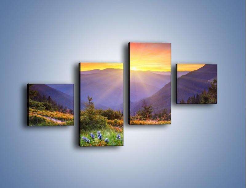 Obraz na płótnie – Góry o zachodzie słońca – czteroczęściowy KN014W3