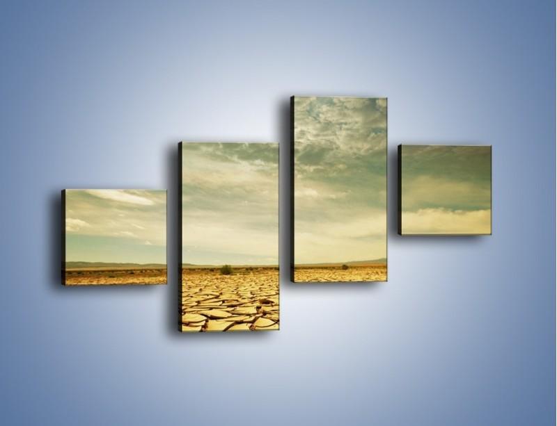 Obraz na płótnie – Ciemne chmury nad popękaną ziemią – czteroczęściowy KN025W3