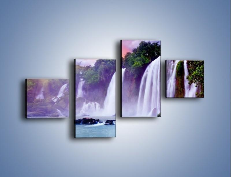Obraz na płótnie – Wodospady jak z bajki – czteroczęściowy KN026W3