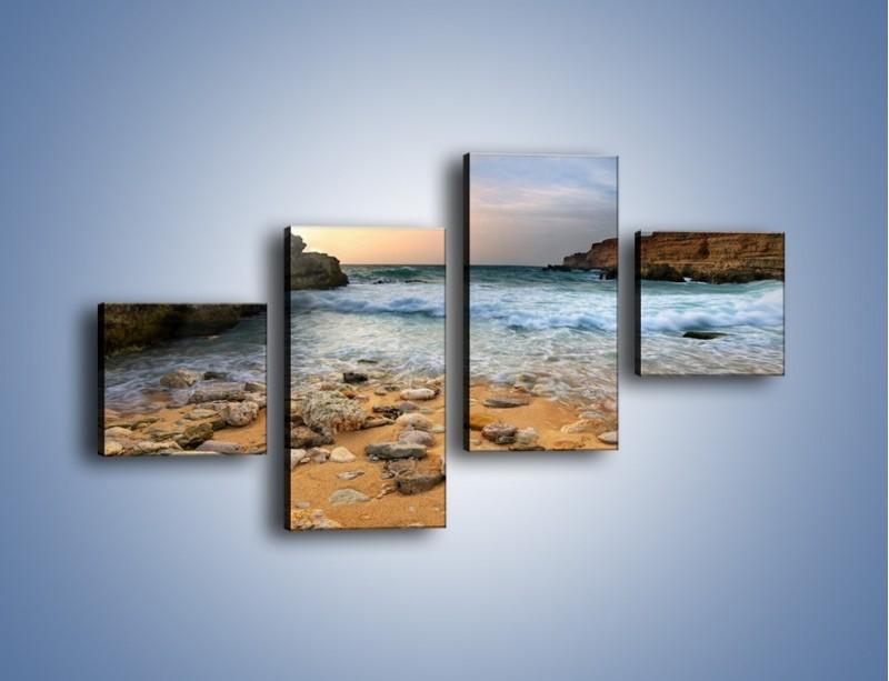 Obraz na płótnie – Kamienista plaża o poranku – czteroczęściowy KN043W3