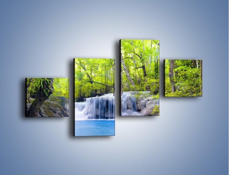 Obraz na płótnie – Mały leśny wodospad – czteroczęściowy KN057W3