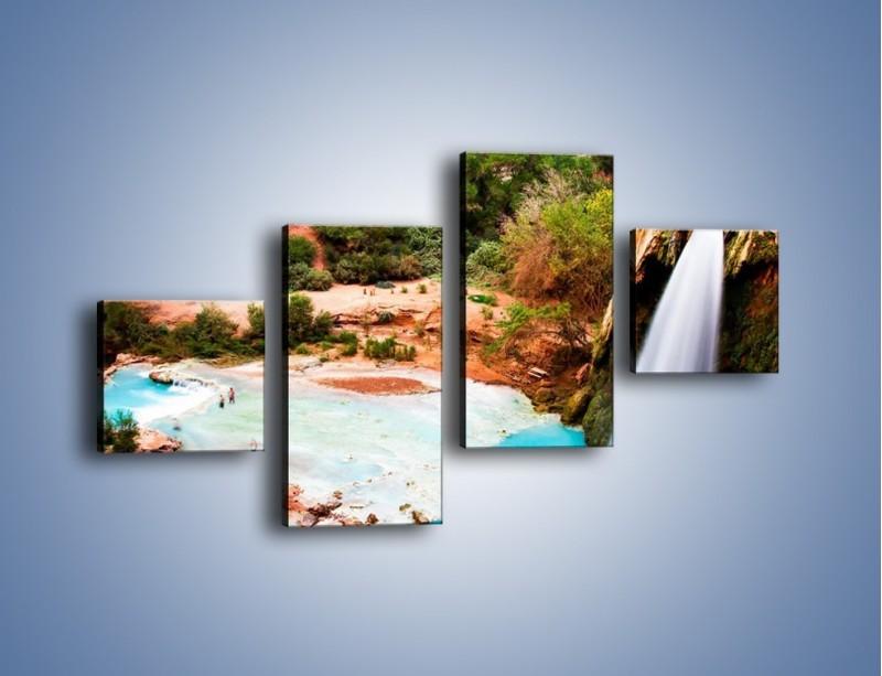 Obraz na płótnie – Zabawy przy wodospadzie – czteroczęściowy KN095W3