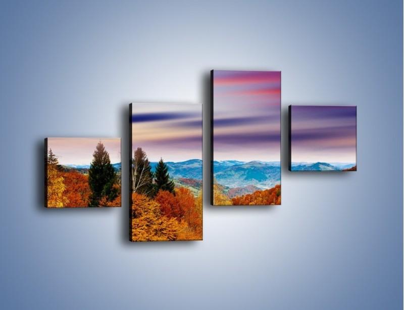Obraz na płótnie – Drzewa w kolorach jesieni – czteroczęściowy KN099W3
