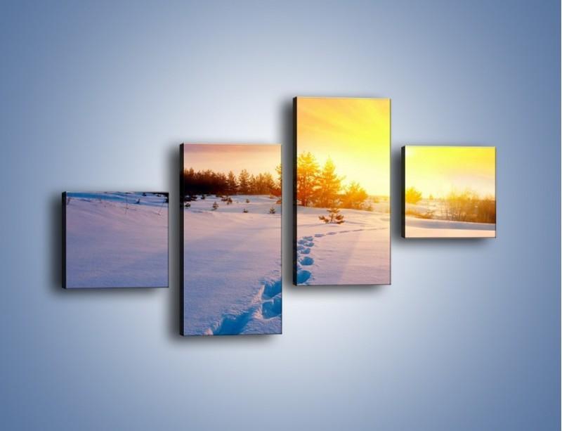 Obraz na płótnie – Ślady na śnieżnym puchu – czteroczęściowy KN1015W3