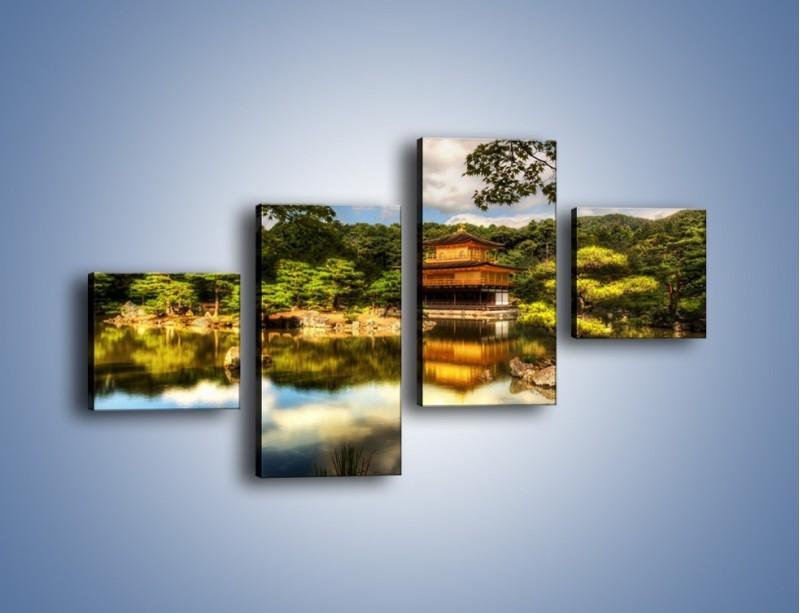 Obraz na płótnie – Widok z domu na wodę – czteroczęściowy KN1030W3