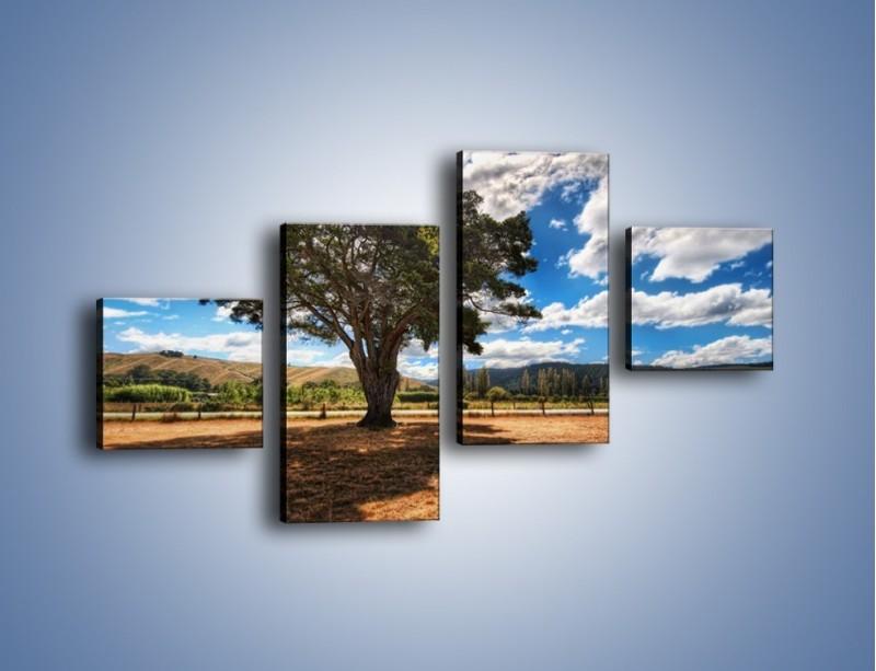 Obraz na płótnie – Cień pod rozłożystym drzewem – czteroczęściowy KN1037W3