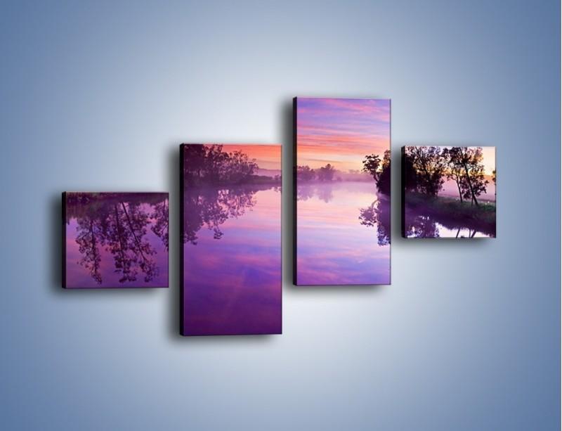 Obraz na płótnie – Fiolet w wodzie i na niebie – czteroczęściowy KN1046W3