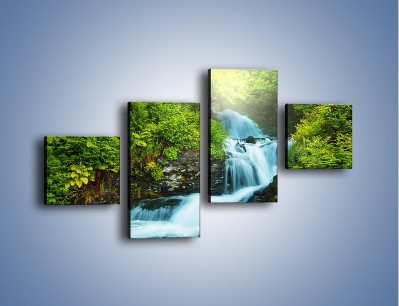 Obraz na płótnie – Spływ wodny i zieleń – czteroczęściowy KN1069W3