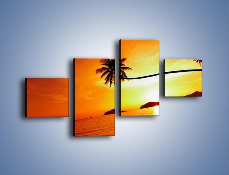 Obraz na płótnie – Palma o zachodzie słońca – czteroczęściowy KN1077W3