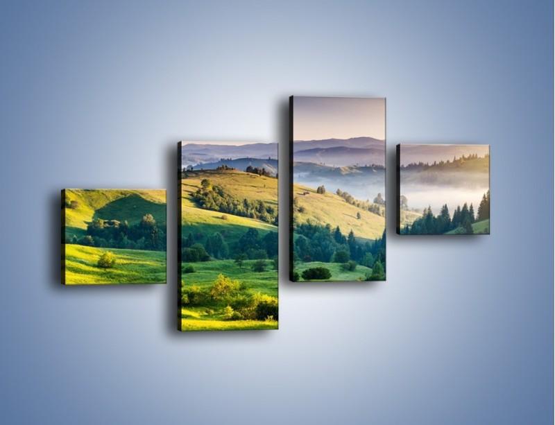 Obraz na płótnie – Tylko zieleń i góry – czteroczęściowy KN1084W3