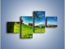 Obraz na płótnie – Chatki na polanie – czteroczęściowy KN1085AW3