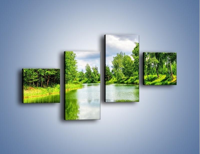 Obraz na płótnie – Spokojna woda i las – czteroczęściowy KN1086W3