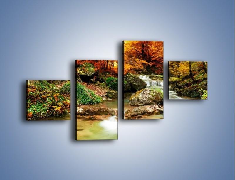Obraz na płótnie – Jesienne kolory w lesie – czteroczęściowy KN1094AW3