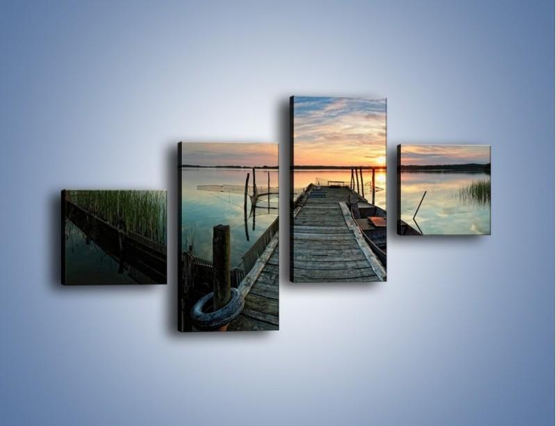 Obraz na płótnie – Stary most i łódź – czteroczęściowy KN1096AW3
