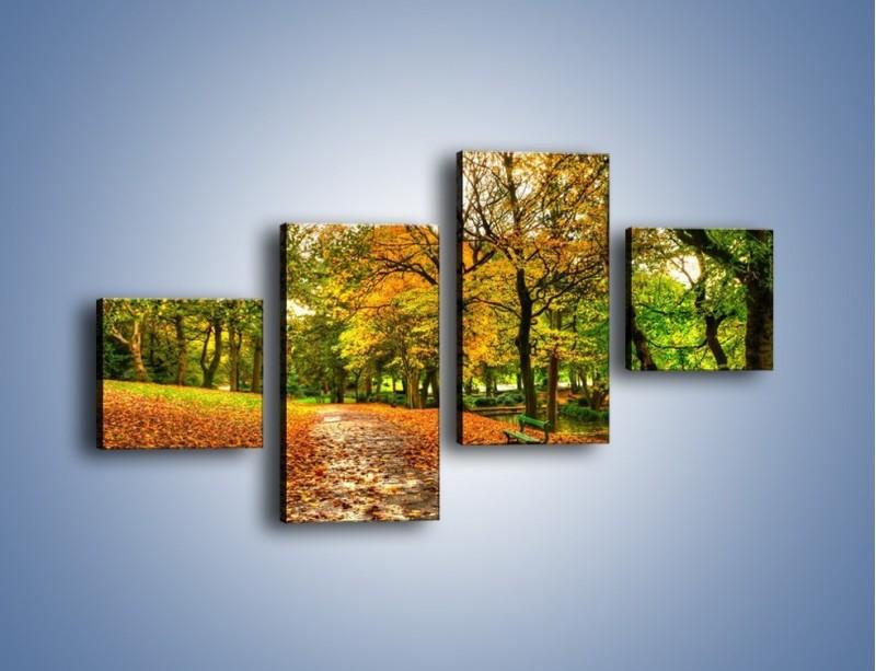Obraz na płótnie – Piękna jesień w parku – czteroczęściowy KN1098AW3
