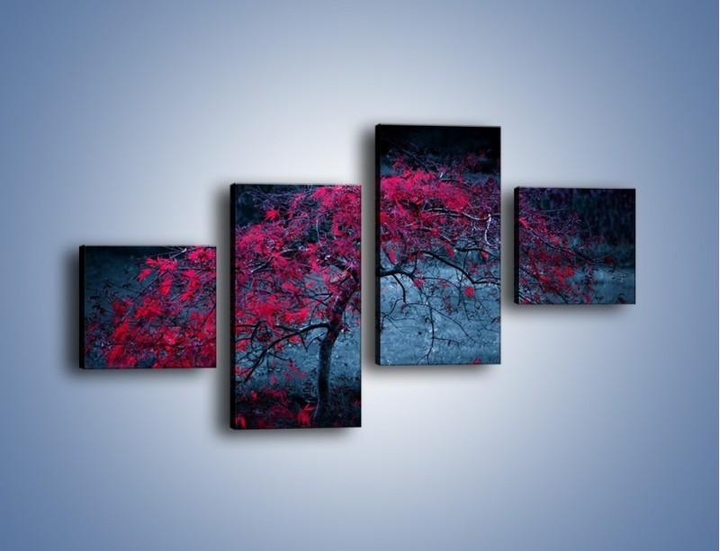 Obraz na płótnie – Czerwone płaczące drzewo – czteroczęściowy KN1101AW3