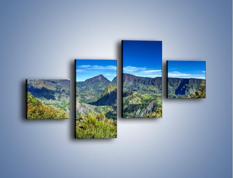 Obraz na płótnie – Zieleń ukryta wysoko w górach – czteroczęściowy KN1106W3