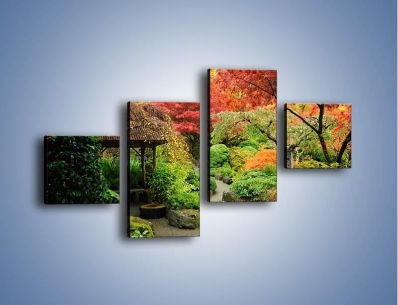 Obraz na płótnie – Alejka między kolorowymi drzewami – czteroczęściowy KN1113W3
