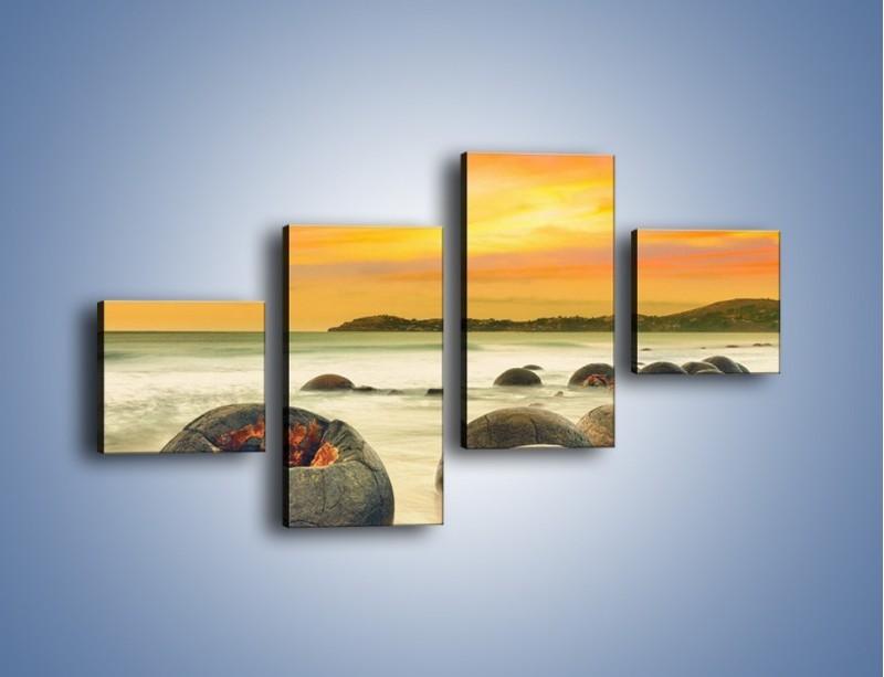 Obraz na płótnie – Popękane kamienne arbuzy – czteroczęściowy KN1125AW3