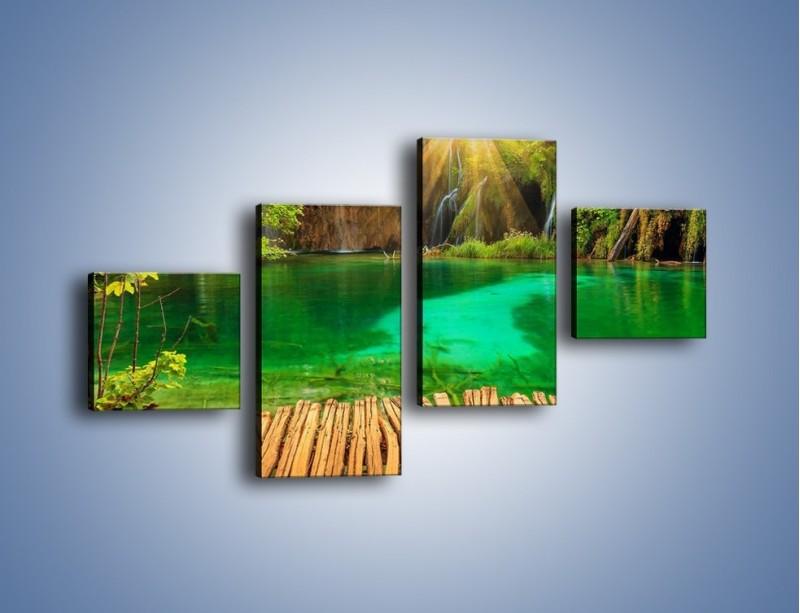 Obraz na płótnie – Zielone oczko wodne i drewno – czteroczęściowy KN1149AW3