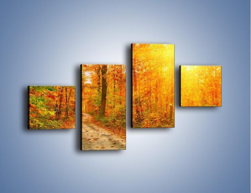 Obraz na płótnie – Leśną drużką jesienią – czteroczęściowy KN1163AW3