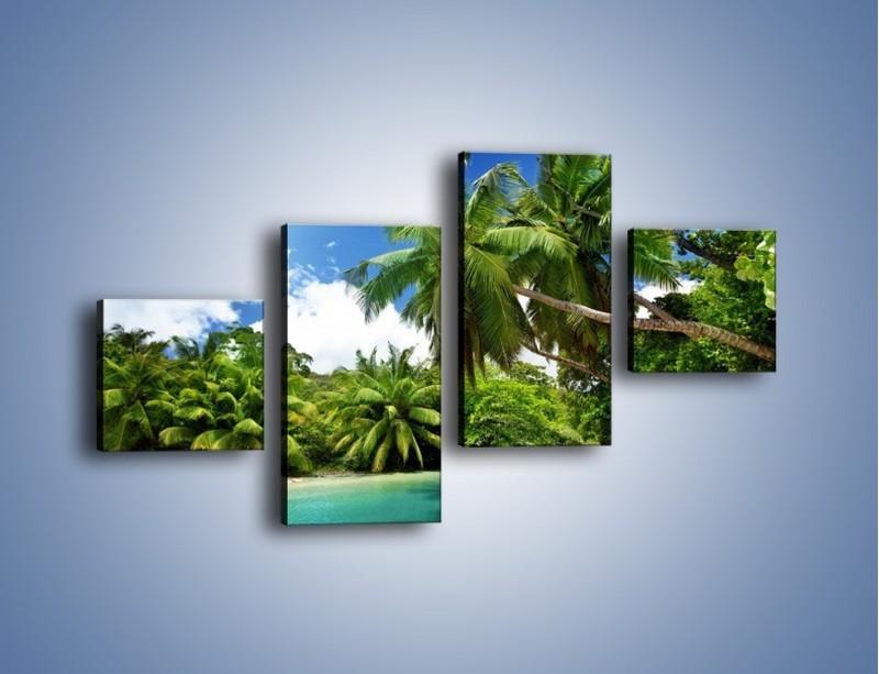 Obraz na płótnie – Rozłożone palmy i woda – czteroczęściowy KN1168AW3