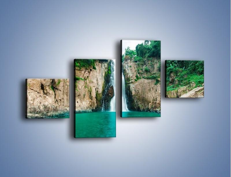 Obraz na płótnie – Skok ze skarpy do wody – czteroczęściowy KN1184AW3