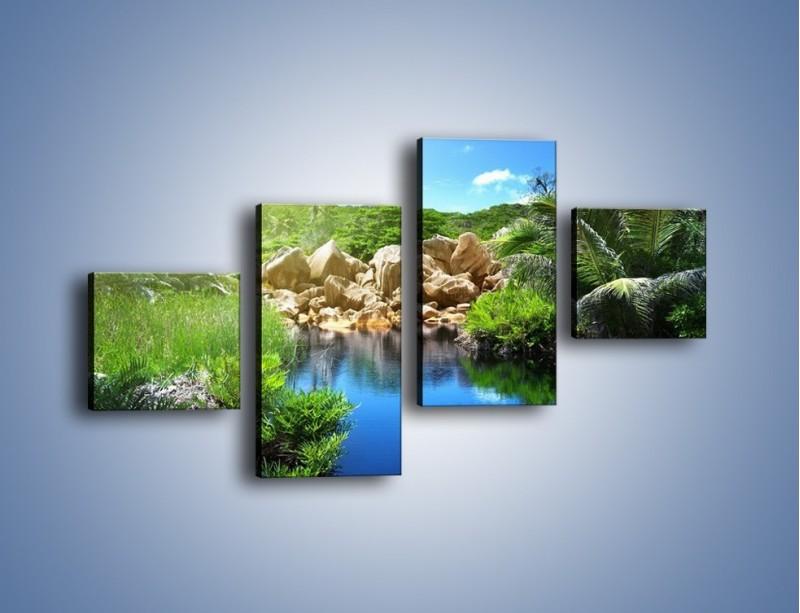 Obraz na płótnie – Wapienne skałki na wodzie – czteroczęściowy KN1188AW3