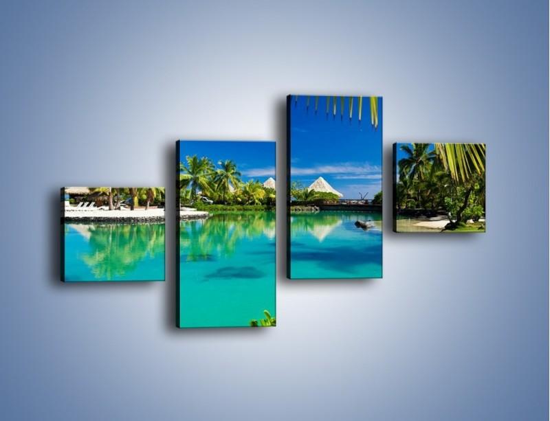 Obraz na płótnie – Biały piasek i palmy – czteroczęściowy KN1201AW3