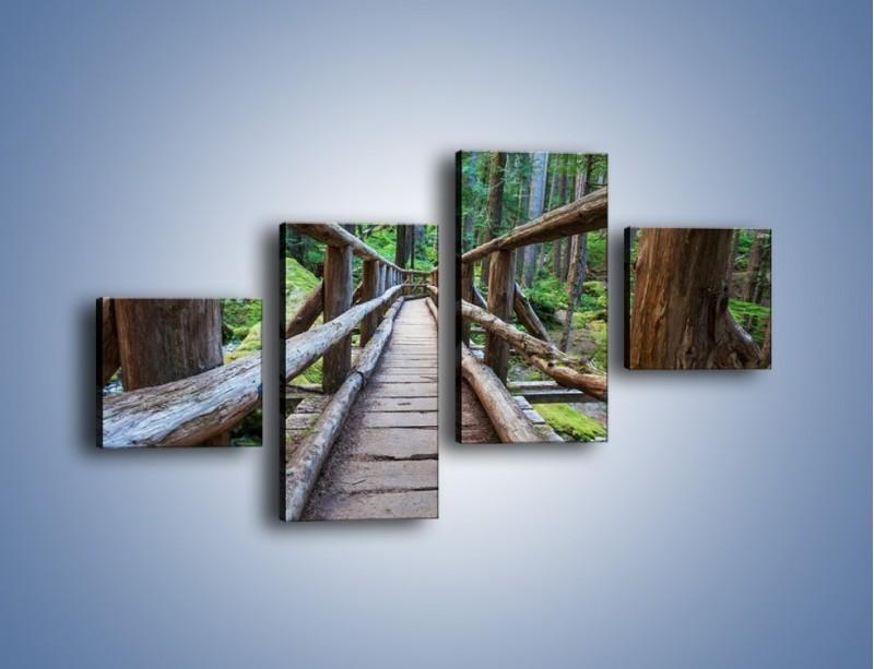 Obraz na płótnie – Mostek z drewnianych bali – czteroczęściowy KN1207AW3