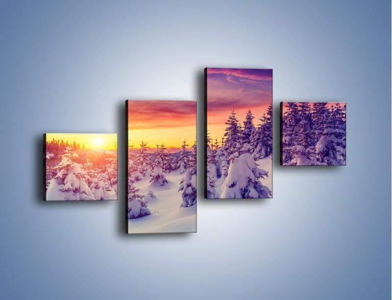 Obraz na płótnie – Choinki w śnieżnej szacie – czteroczęściowy KN1220AW3