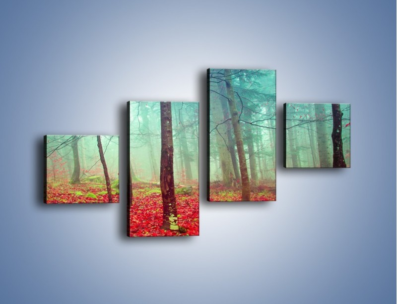 Obraz na płótnie – Drzewka na czerwonym dywanie – czteroczęściowy KN1222AW3