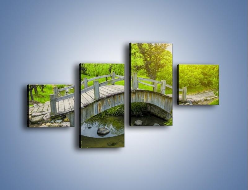 Obraz na płótnie – Mały mostek przez rzeczkę – czteroczęściowy KN1254AW3